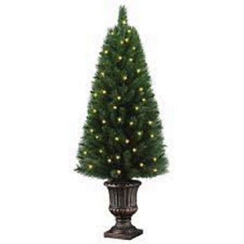 New 4ft Potted Artificial Christmas Tree with 50 Clear Lights, Greens