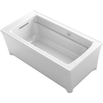 KOHLER Archer 5.16 ft. Freestanding Air Bath Tub in White K-2593-G2MW-0