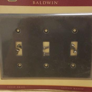 Baldwin Antique Brass Triple Toggle Switch Wall Plate 4770-112-CD
