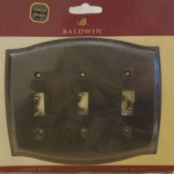 Baldwin Colonial Triple Toggle Solid Brass Switch Plate Venetian Bronze