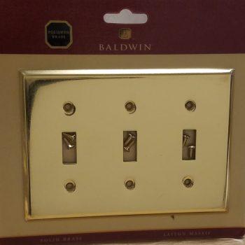 Baldwin Classic Beveled Edge Triple Toggle Switch Plate Polished Brass(Lot of 2)