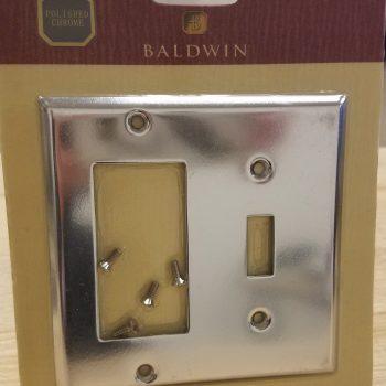 Baldwin Beveled Edge GFCI/Single Toggle Combo Switch Plate Polished Chrome