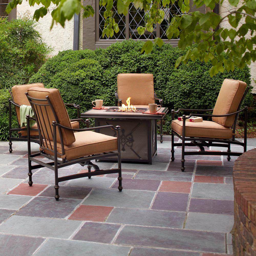 hampton bay niles park 5 piece gas fire pit patio seating set cashew cushions