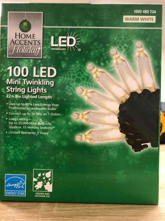 Home Accents LED Mini Twinkling 100 String Light 22ft 8in 1002482734
