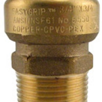 Boshart Industires Male Adapter Brass Quik Conn 1-inch x 1 MPT BPF-MA10NL 6-Pack