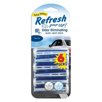 4x Refresh New Car and Cool Breeze Odor Eliminating Auto Vent Stick (6-Pack)