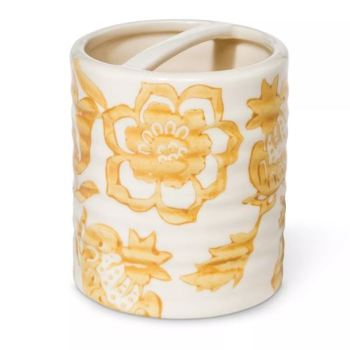 LOT OF 2 Threshold Floral Ceramic Toothbrush Holder Yellow