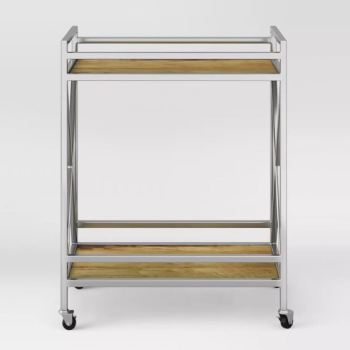 Project 62 Maison Polished Chrome and Wood Bar Cart 3382