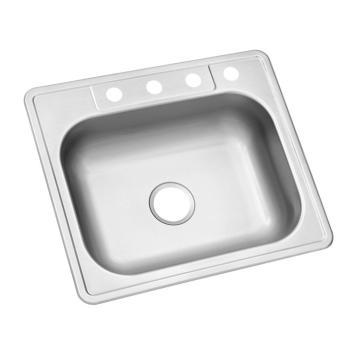 Glacier Bay Drop-In Stainless Steel 25 in. 4-Hole Single Bowl Kitchen Sink