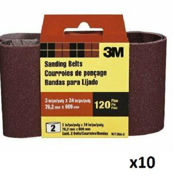 20-Pack 3M 120 Grit Fine Sanding Belt 3″ x 24″ 9272NA-2