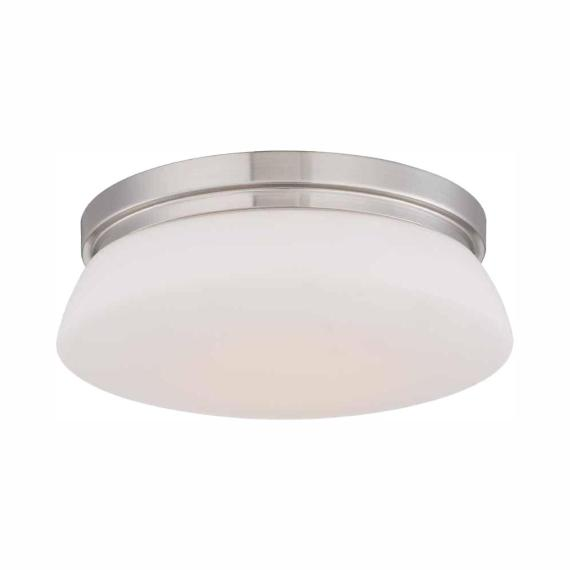 Hampton Bay 13 in. Brushed Nickel LED Flush Mount with Opal Glass HBLED1034-35