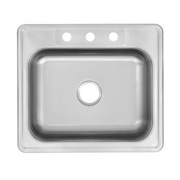 Glacier Bay Drop-In Stainless 25″ 3-Hole Single Bowl Kitchen Sink HDSB252283