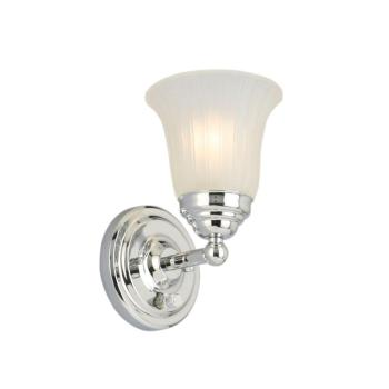 Hampton Bay Cameron 1-Light Chrome Sconce with Frosted Glass Shade 1001574000