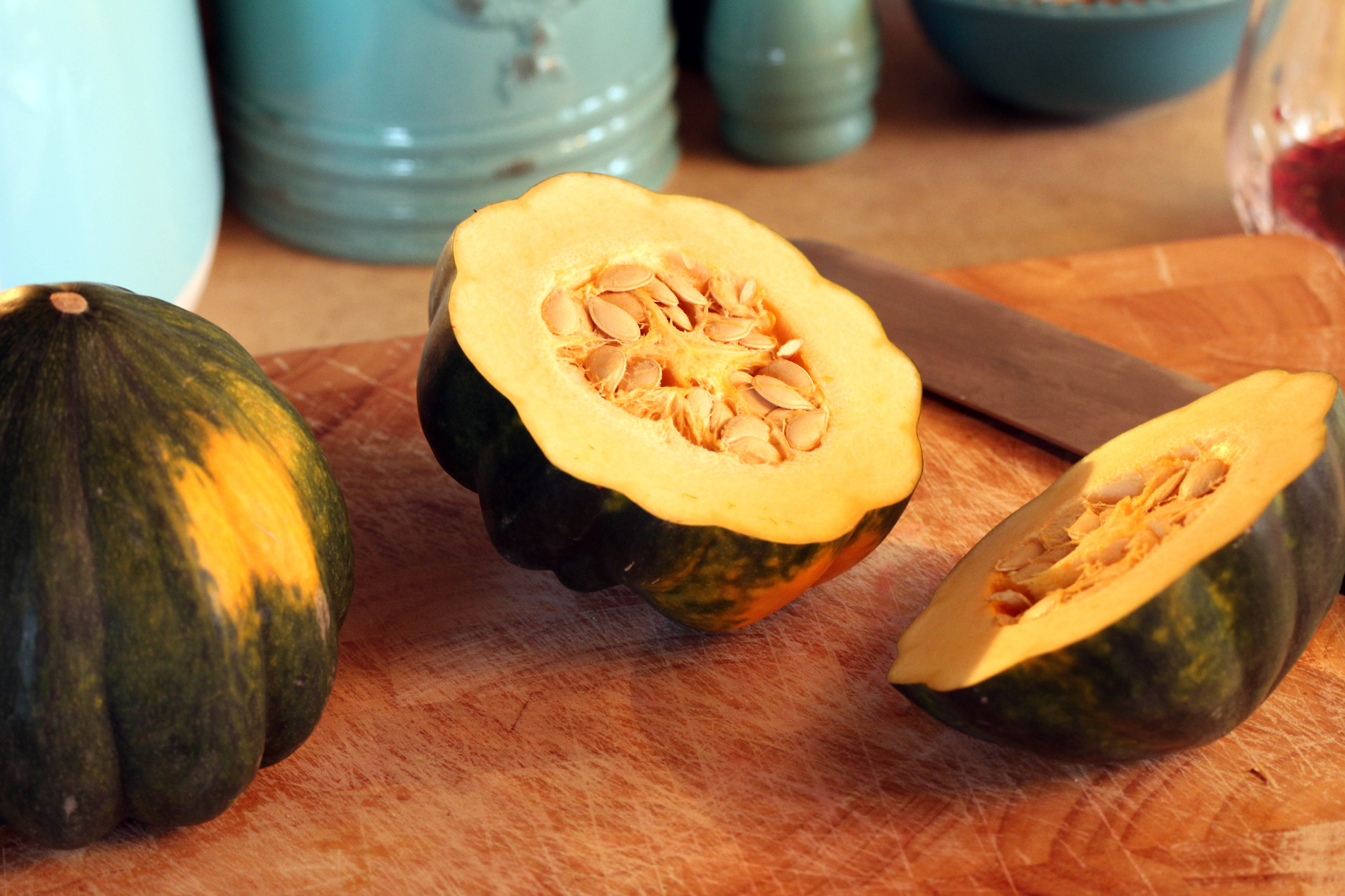 Acorn Squash with seeds still intact for Roasted Acorn Squash with Cranberry Walnut Quinoa