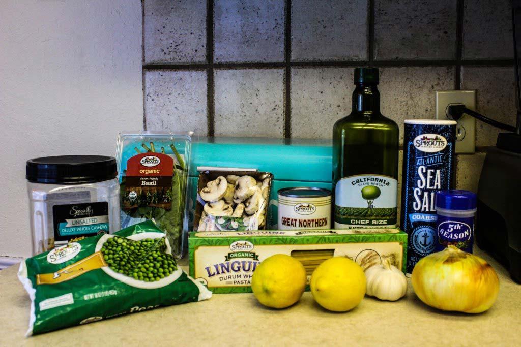 Gathered ingredients for Guilt Free Vegan Alfredo Pasta