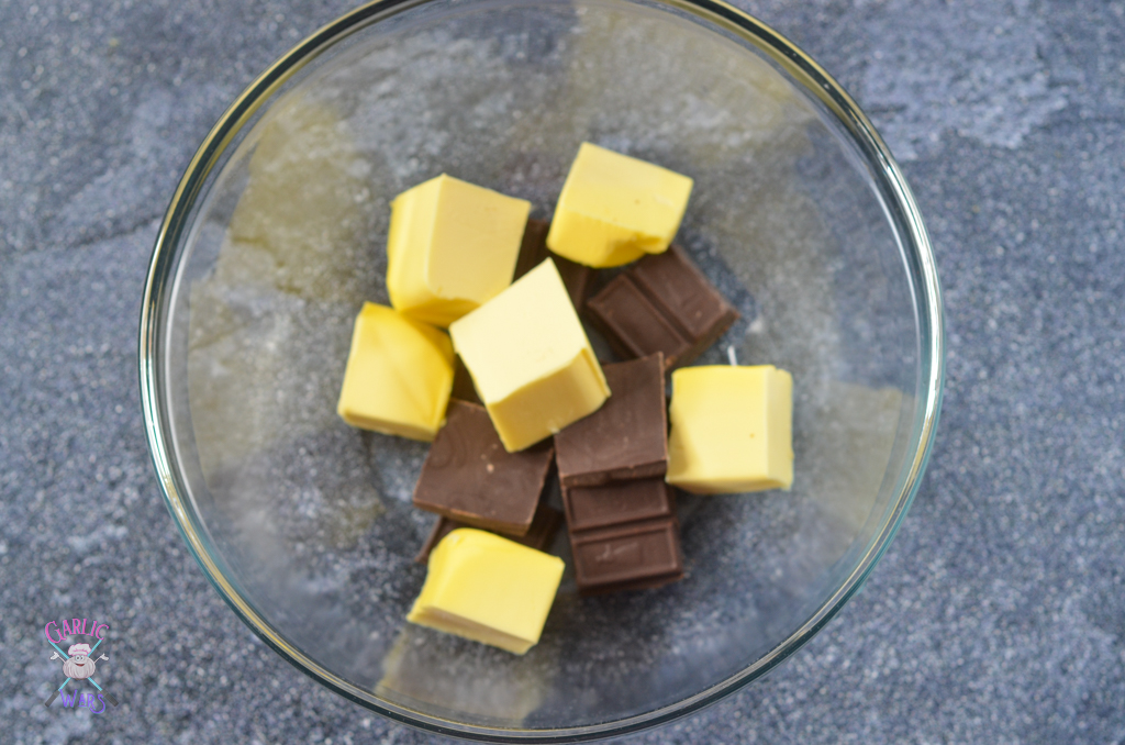 butter and chocolate for fudgy brownies