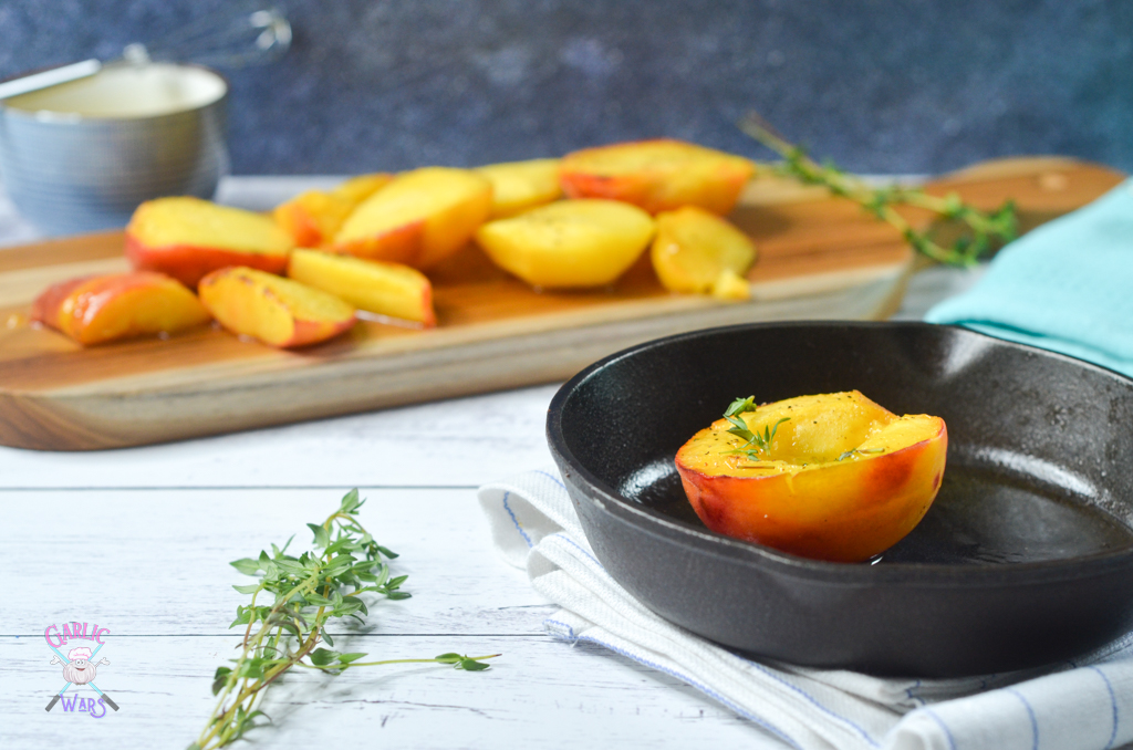 honey thyme peaches in skillet