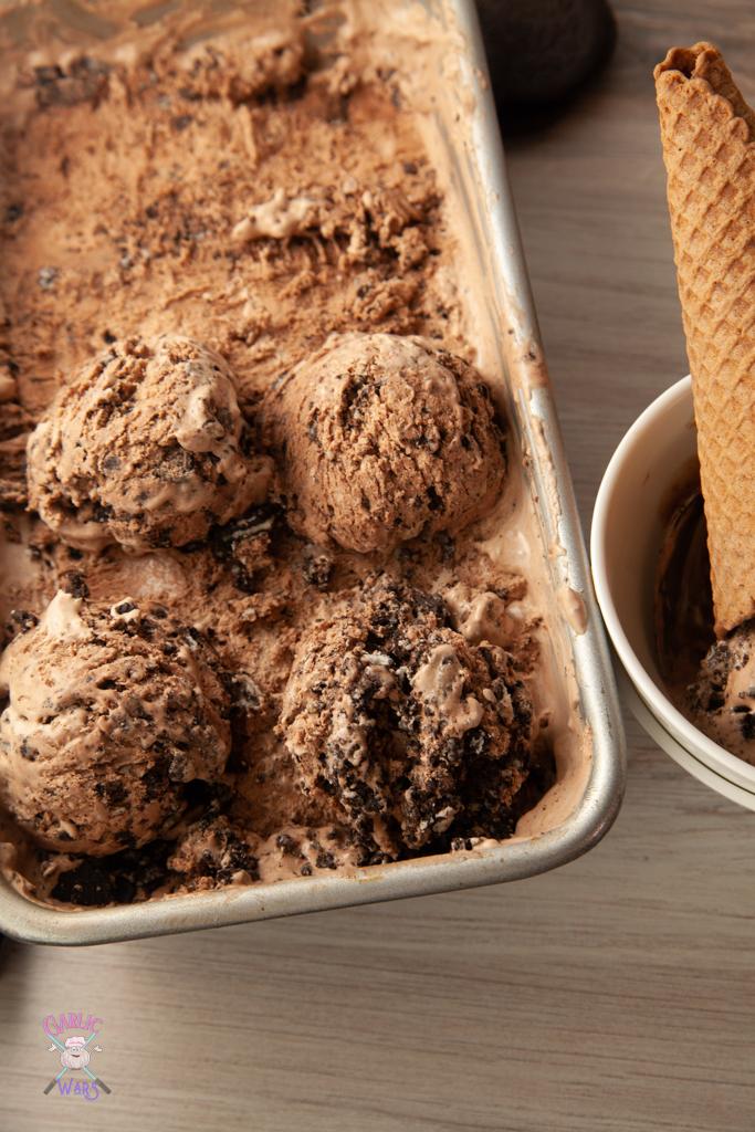 scoops of chocolate oreo ice cream