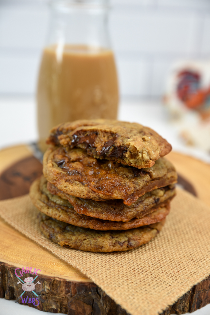 stack of coffee chocolate chip cookies