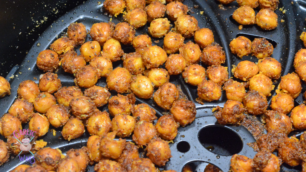 cooked chickpeas in air fryer basket