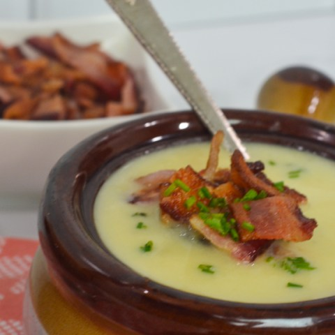 leek and potato soup topped with bacon