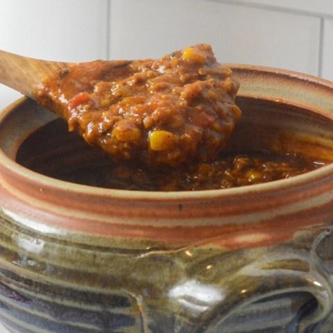 pumpkin chili on spoon