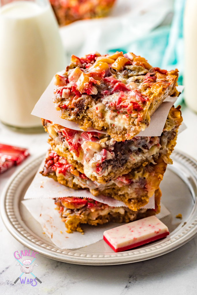 stack of peppermint magic bars
