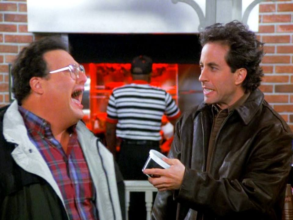 Jerry and Newman in the Chicken Roasters.