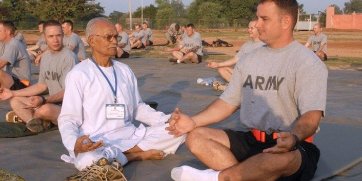 solider meditating