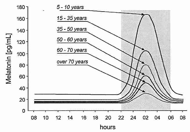 Normal melatonin peaks decline with age