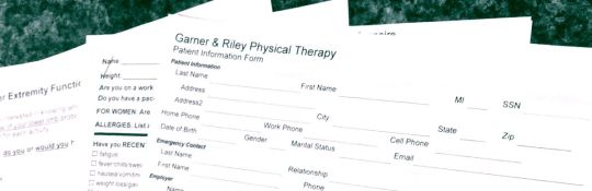 Forms   Garner   Riley Physical Therapy It will speed up the patient intake process if you fill out any forms  relating to your condition before your appointment  To make the process  easier
