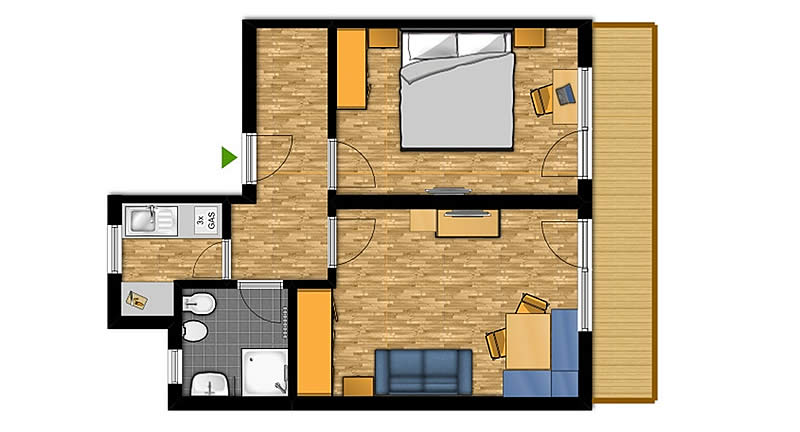 Two-room apartment for 2-4 people (No. 1)