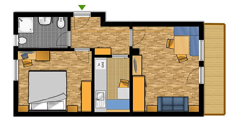 Two-room apartment for 2-4 people (No. 3)