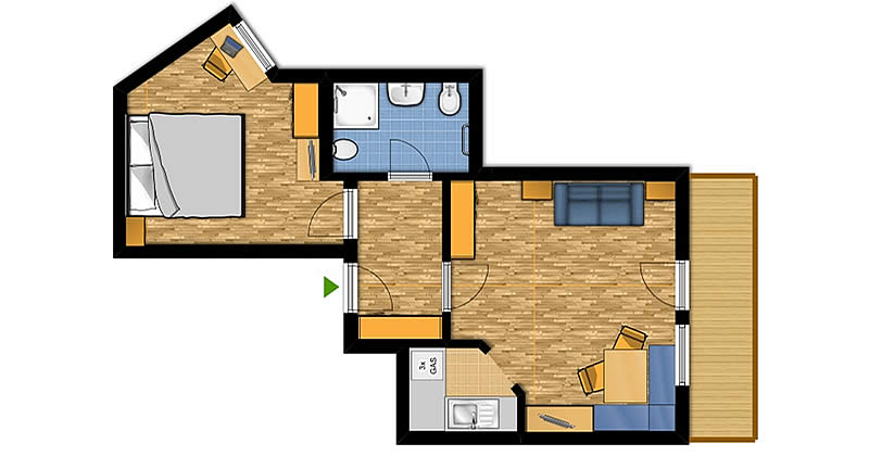 Two-room apartment for 2-4 people (No. 4)