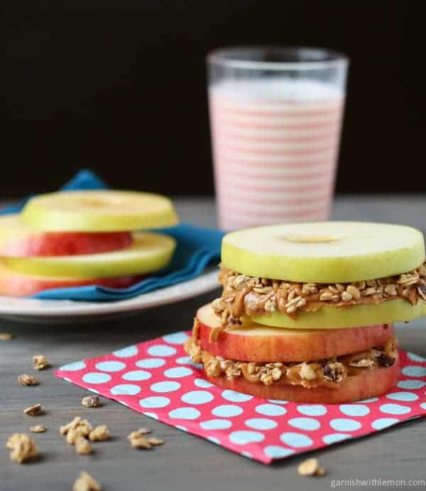 Apple Sandwiches make for a great kid-friendly breakfast! They're quick, easy and super portable!