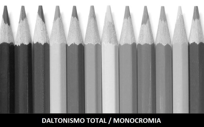 No Daltonismo total as pessoas afetadas não conseguem distinguir nenhuma cor, sendo que as imagens se mostram somente em preto e branco