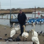 Feeding the swans in Christchurch