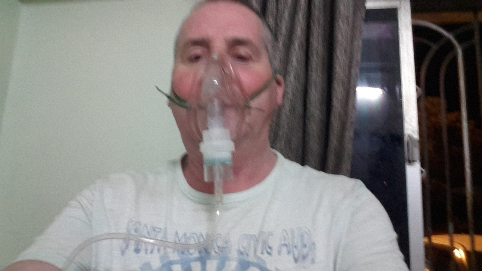Garry McGivern on a nebuliser.