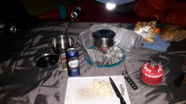 Cooking supper in the new tent