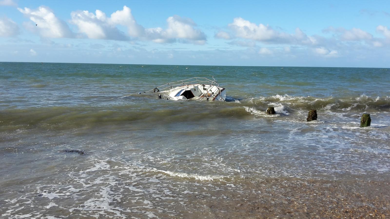 A yacht run aground