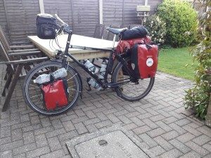 Touring bike loaded with panniers