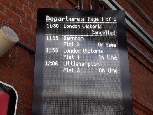 Train announcement board