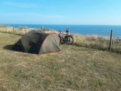 Tent on a cliff edge