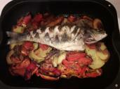 Cooked fish and vegetables