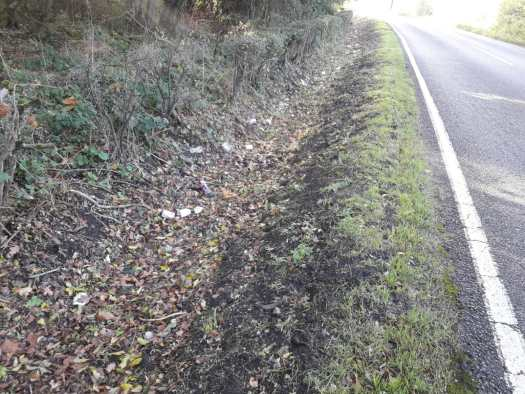 Ditch with litter in it