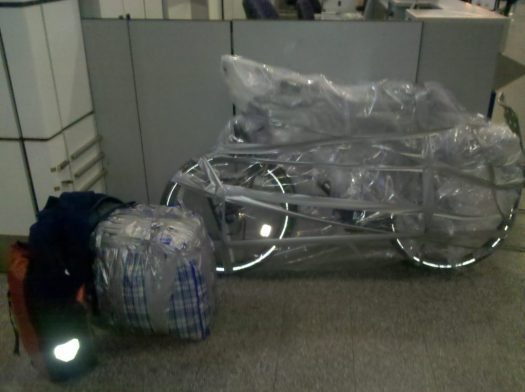 Bike packed for flying