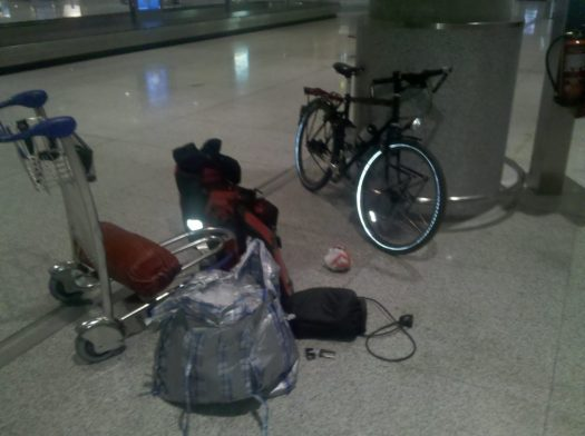 Bike in an airport