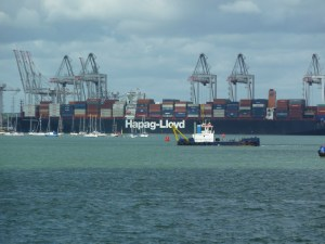Container ship in Southampton docks