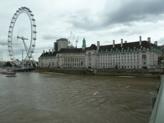Old GLC building with the London Eye