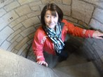Lady climbing up a staircase